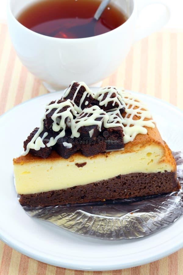 果仁巧克力乳酪蛋糕 库存图片