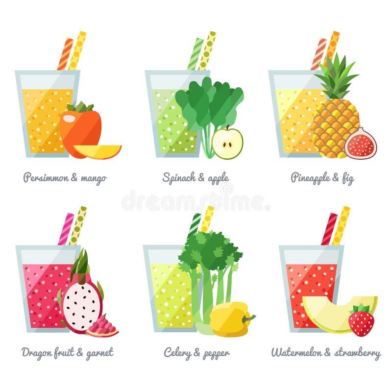 水果和蔬菜圆滑的人(汁液)导航概念 咖啡馆的菜单元素 皇族释放例证