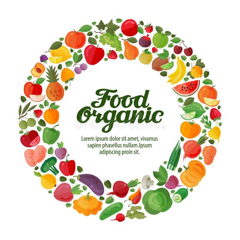 水果和蔬菜在圈子 有机食品横幅 皇族释放例证