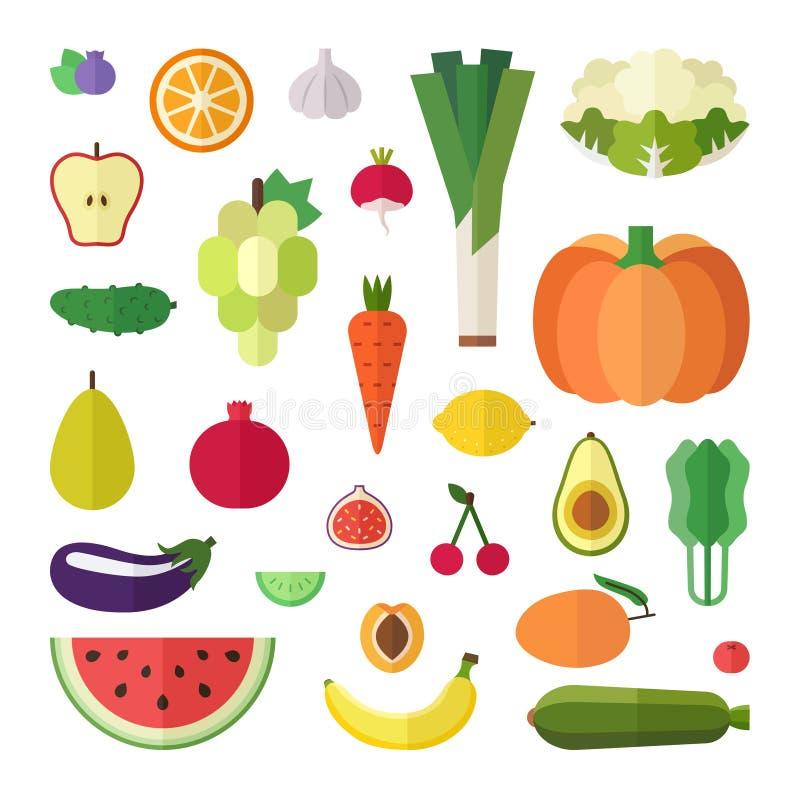 水果和蔬菜平的样式传染媒介集合 第一部分 库存例证