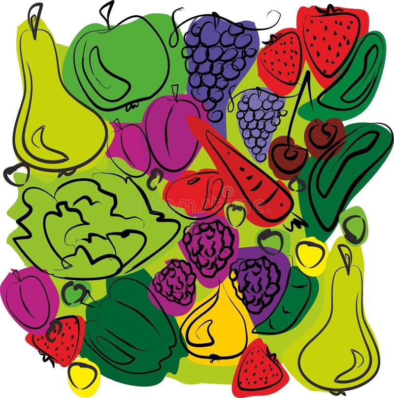 水果和蔬菜混合 库存例证