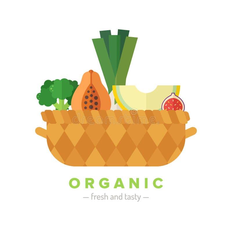 水果和蔬菜篮子平的例证 第三部分 向量例证