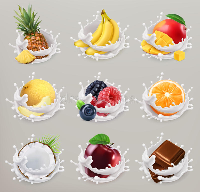 果子、莓果和酸奶 3d传染媒介象设置了2 库存例证