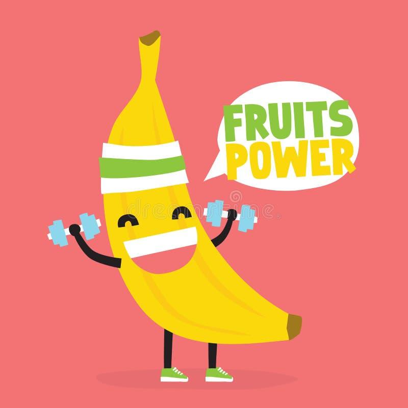 果子力量 逗人喜爱的kawaii香蕉爱好健美者传染媒介例证 库存例证