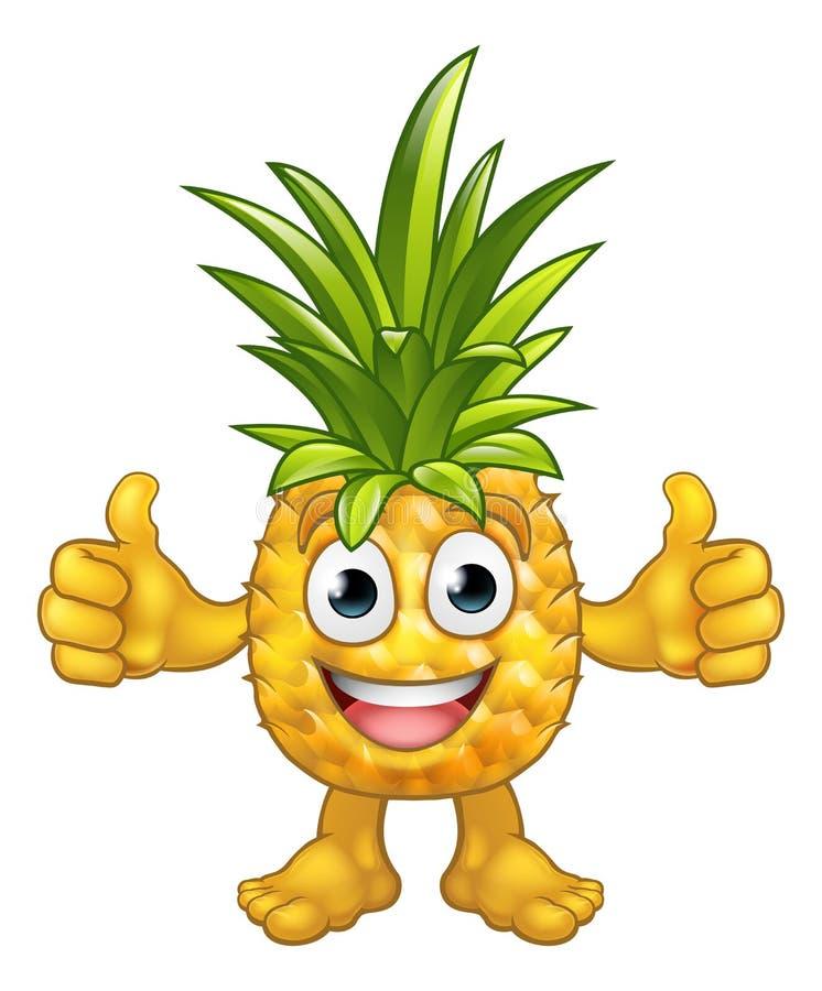 果子动画片菠萝吉祥人字符 库存例证