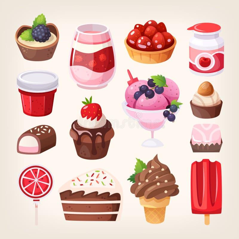 果子和巧克力甜点点心 向量例证