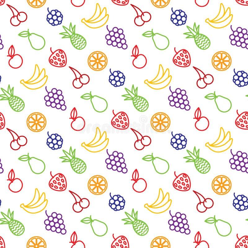 果子和浆果无缝的背景 皇族释放例证