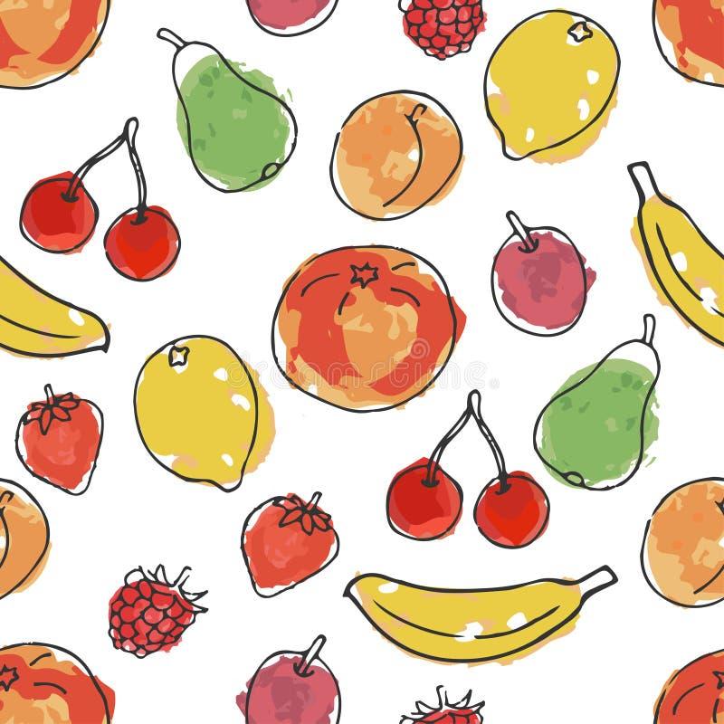 果子和浆果 水彩的模仿 在乱画和动画片样式的无缝的样式 皇族释放例证