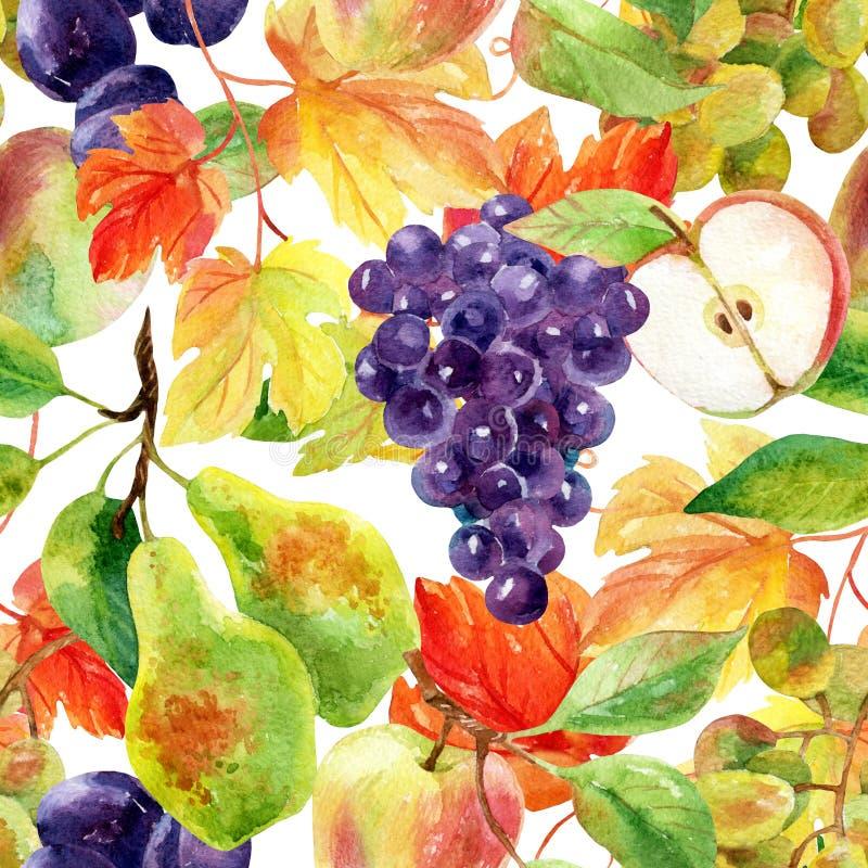 果子和莓果无缝的样式 向量例证