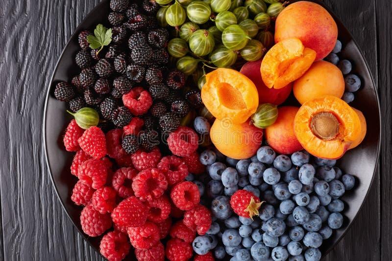 果子和莓果沙拉特写镜头  免版税库存照片