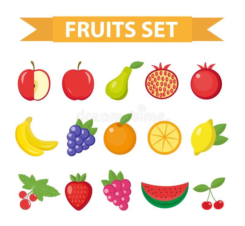 果子和莓果象集合 果子象集合,隔绝在白色背景 苹果计算机,桔子,梨,草莓,葡萄,西瓜, L 皇族释放例证