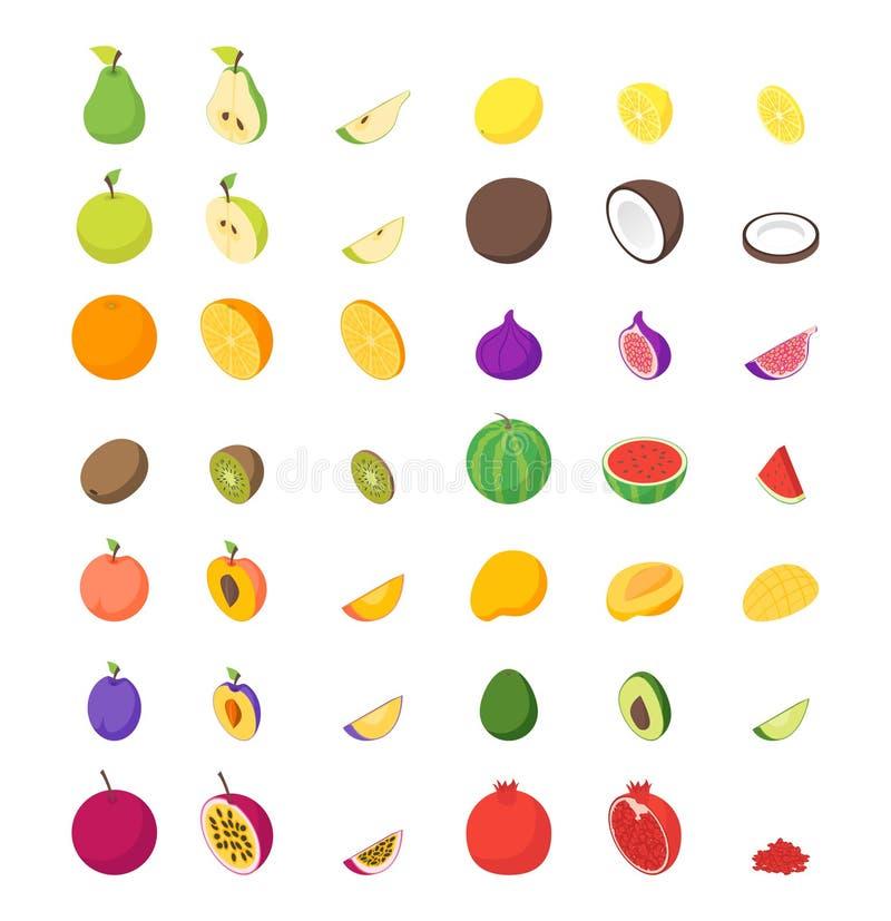 果子和莓果3d象设置了等轴测图 向量 库存例证