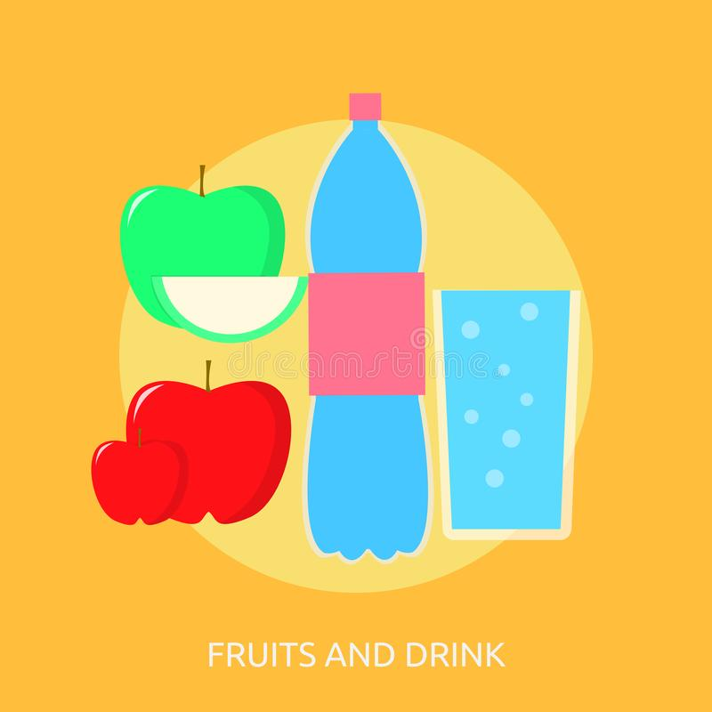 果子和饮料概念设计 库存例证