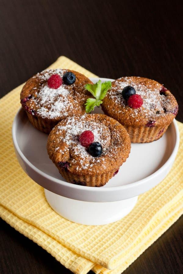 果子和麸面松饼用新鲜的蓝莓和莓 库存图片