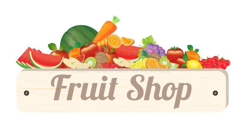 果子商店木板用果子西瓜苹果橙色蕃茄樱桃柠檬葡萄猕猴桃红萝卜 向量例证
