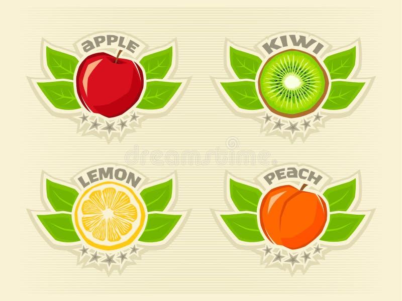 果子商标集合柠檬,猕猴桃,苹果,桃子 皇族释放例证