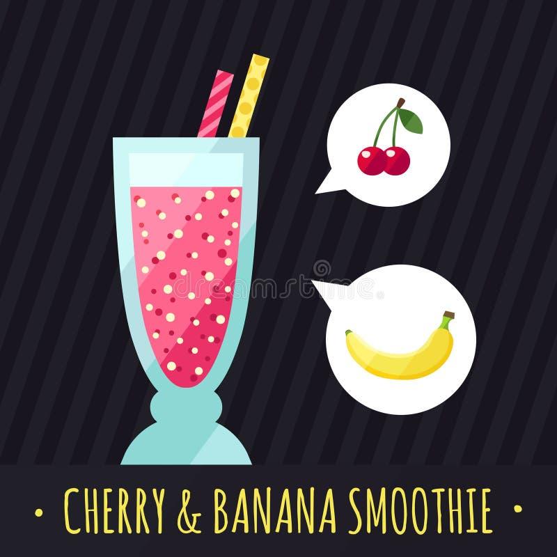 果子圆滑的人(汁液)传染媒介背景(樱桃和香蕉) 咖啡馆或餐馆的菜单元素 库存例证