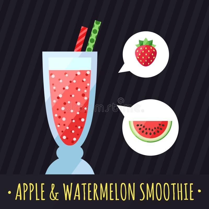 果子圆滑的人(汁液)传染媒介背景(草莓和西瓜) 咖啡馆或餐馆的菜单元素 皇族释放例证