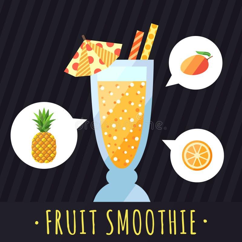 果子圆滑的人(汁液)传染媒介背景(菠萝、芒果和桔子) 咖啡馆或餐馆的菜单元素 皇族释放例证