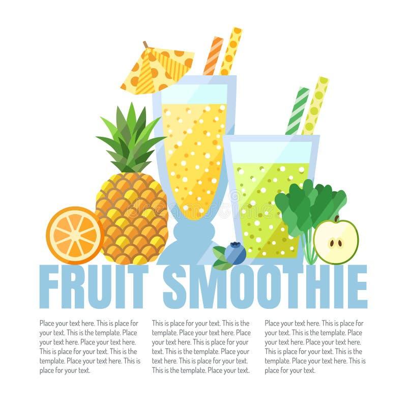 果子圆滑的人(汁液)导航背景(桔子、菠萝、蓝莓、菠菜,苹果) 咖啡馆或餐馆的菜单元素 他 向量例证