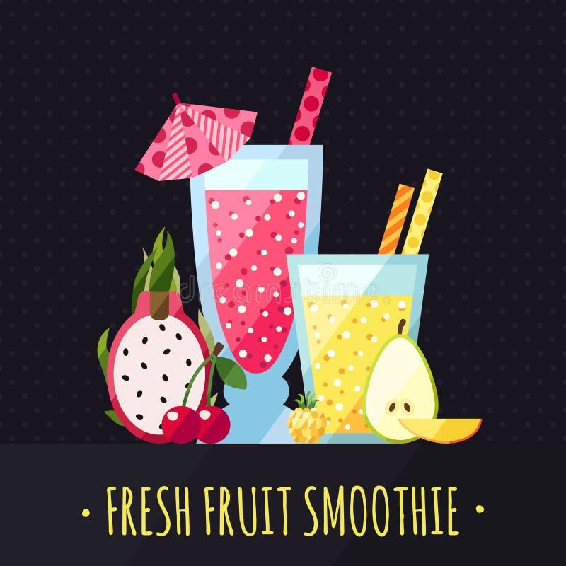 果子圆滑的人(汁液)导航背景(龙果子、樱桃、云彩莓果、梨和芒果) 现代平的设计 库存例证