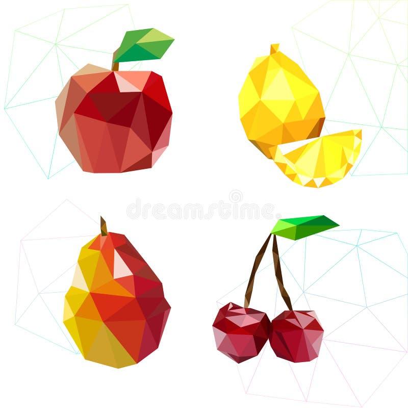 果子套多角形 苹果计算机、柠檬、樱桃和梨 向量 库存例证