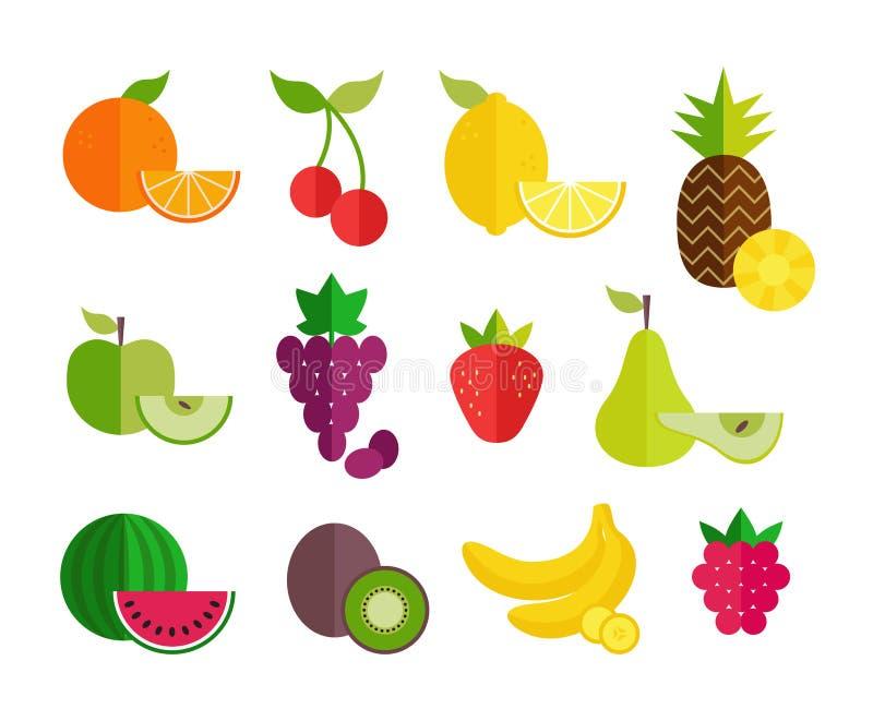 果子平的象集合 网横幅的,网站,铅印材料,infographics五颜六色的平的设计 健康生活方式传染媒介d 向量例证