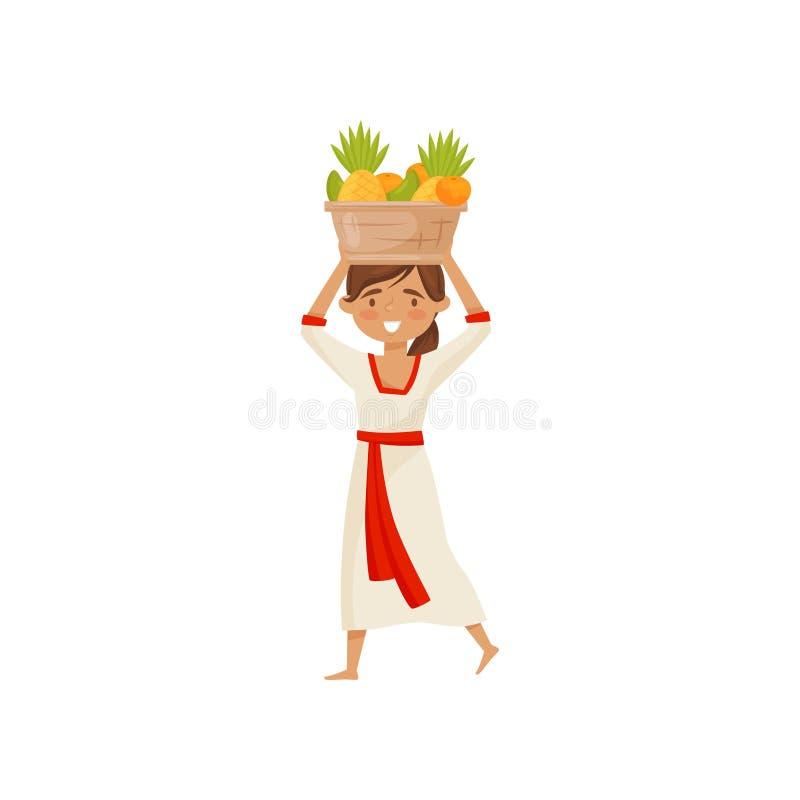 果子年轻微笑的女孩运载的篮子在她的头的 传统礼服的巴厘语妇女 平的传染媒介设计 向量例证