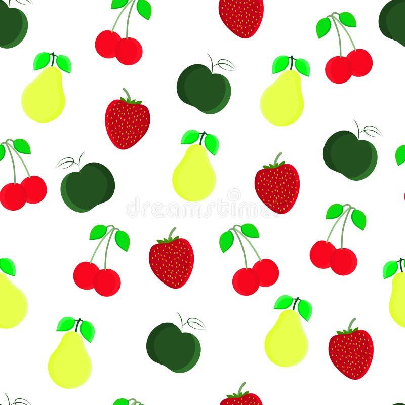 果子无缝的样式用樱桃,苹果,草莓,梨 有益于纺织品,包裹,墙纸等等 库存例证