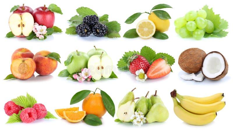 果子果子汇集橙色苹果苹果香蕉莓果梨 免版税库存照片