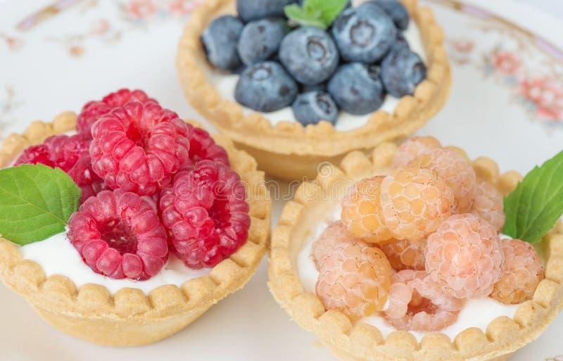果子果子馅饼用莓果和奶油 免版税库存图片
