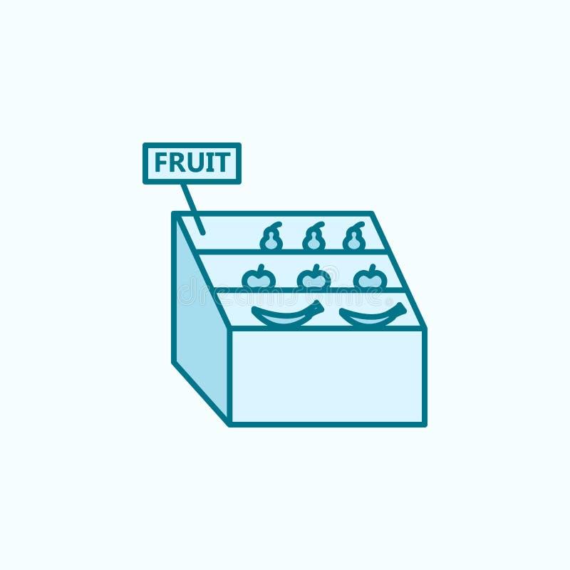 果子柜台2种族分界线象 简单的色素例证 从购物中心集合的果子逆概述标志设计 库存例证