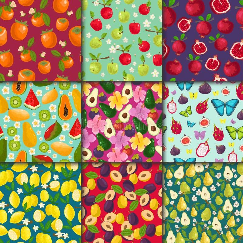 果子样式无缝的传染媒介水果的背景和卓有成效的异乎寻常的墙纸与新切片西瓜柠檬 库存例证