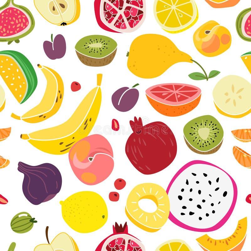 果子样式 果子无缝的印刷品自然逗人喜爱的新鲜食品五颜六色的夏天纺织品动画片,传染媒介纹理 库存例证