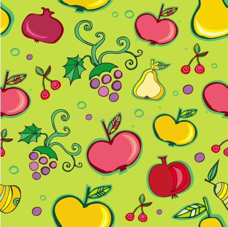 果子模式无缝的向量 库存例证