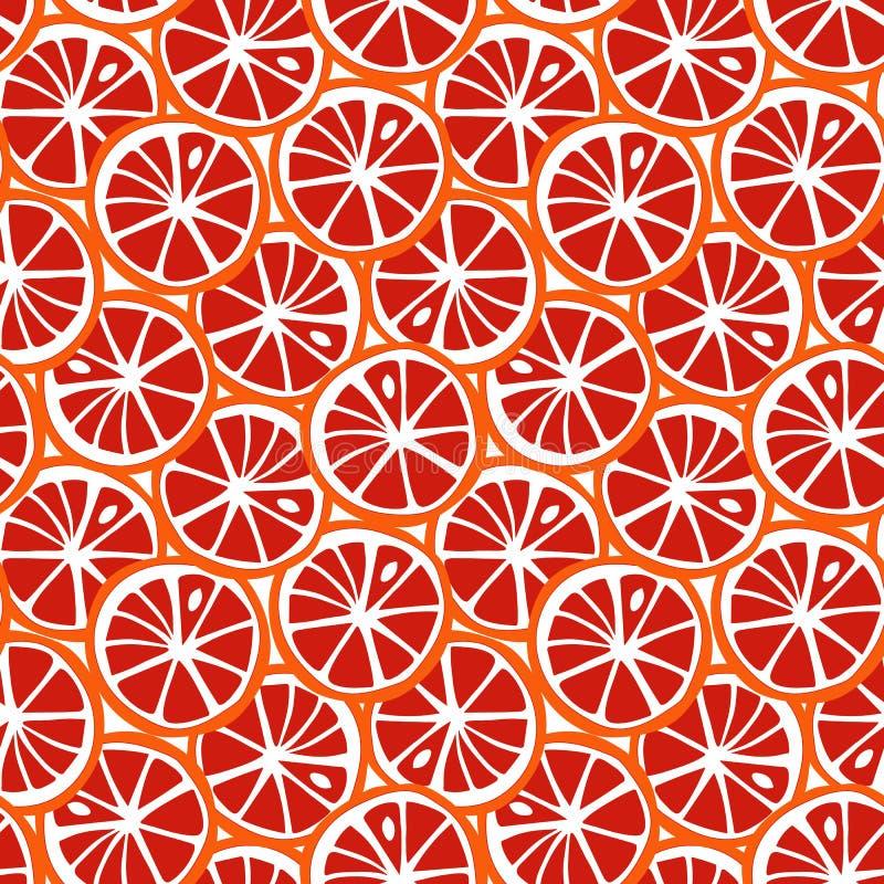 果子橙色和红色葡萄柚柑橘热带夏天样式s 向量例证