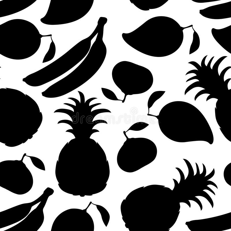 果子现出轮廓无缝的样式 库存例证