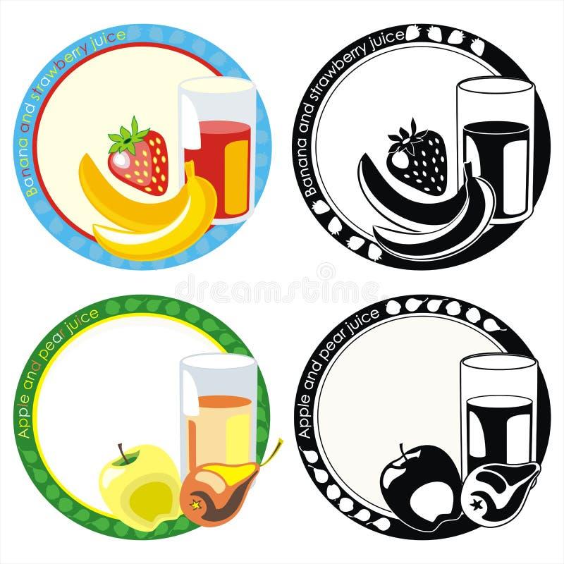 果子玻璃汁标签 库存例证