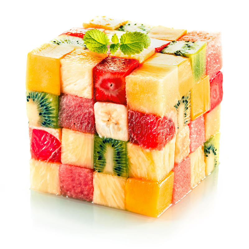 果子立方体用被分类的热带水果 库存图片