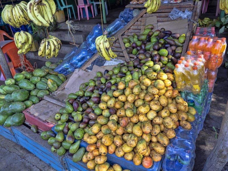 果子菜单在市场上,埃塞俄比亚 免版税图库摄影