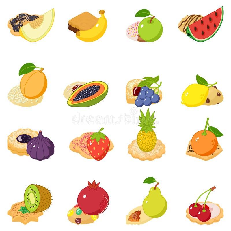果子蛋糕象集合,等量样式 向量例证