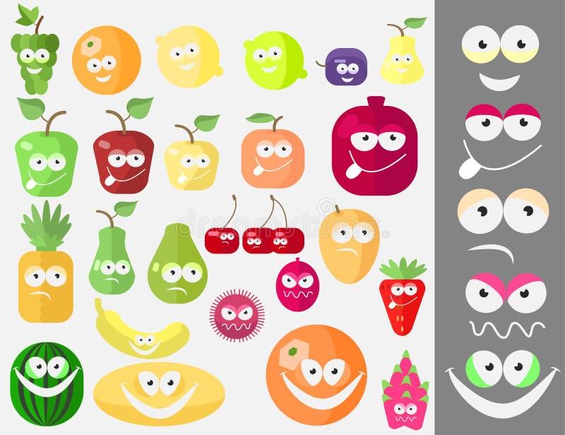 果子设置与面孔 库存例证