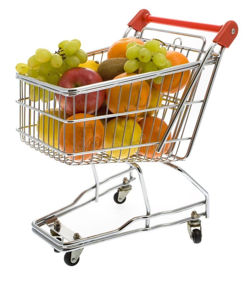 果子购物的超级市场台车 免版税库存图片