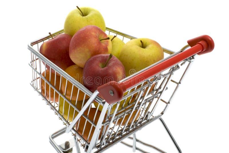 果子购物的超级市场台车 库存照片