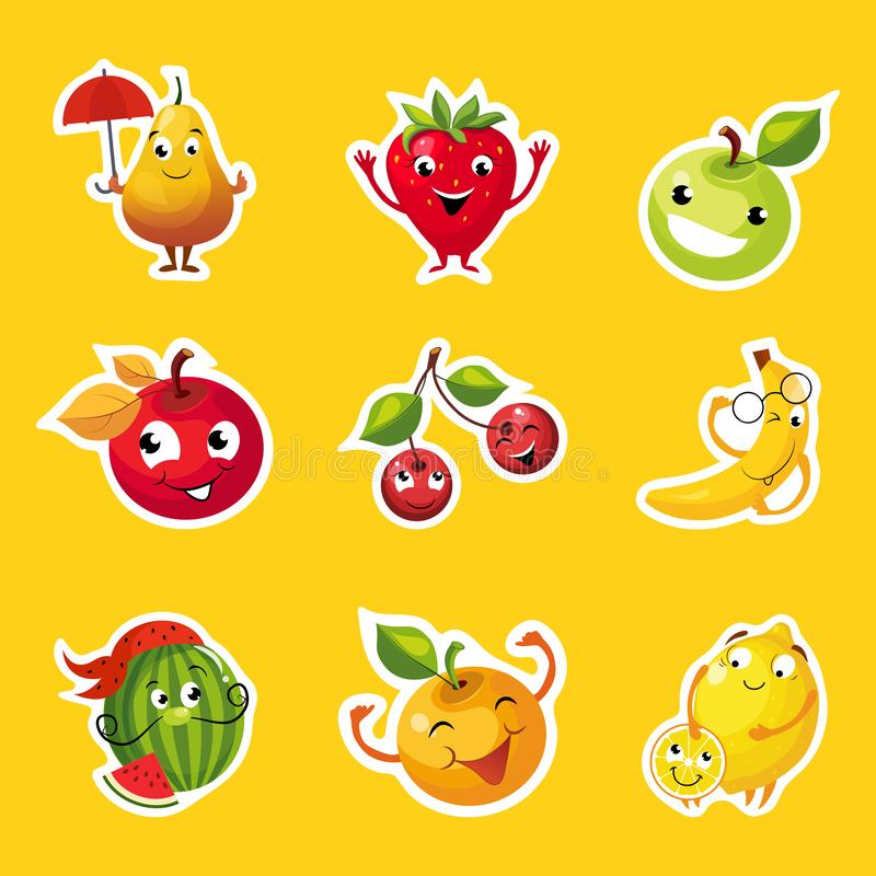 果子贴纸的汇集,梨,苹果计算机,桔子,樱桃,柠檬,西瓜,与滑稽的面孔传染媒介的香蕉字符 皇族释放例证