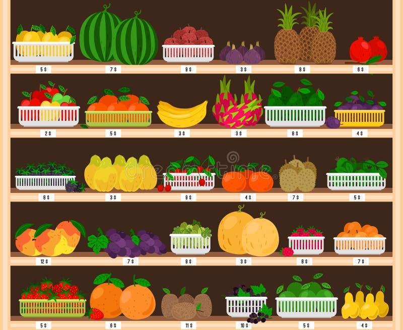 果子超级市场架子 食物农厂与果子陈列室,新鲜的杂货店的商店内部用eco成熟苹果和 库存例证
