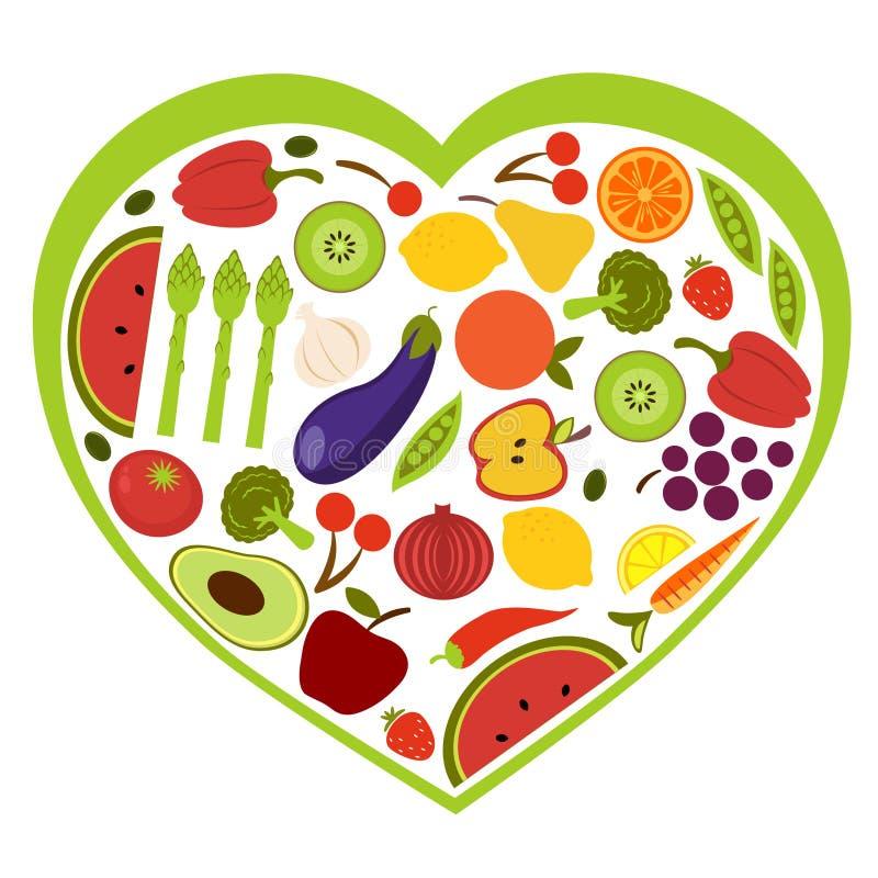 果子重点形状蔬菜 库存例证