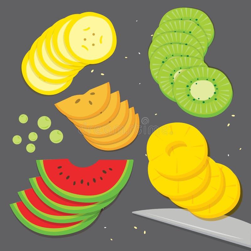 果子食物厨师香蕉葡萄猕猴桃菠萝西瓜柿子新片断切片动画片传染媒介 库存例证