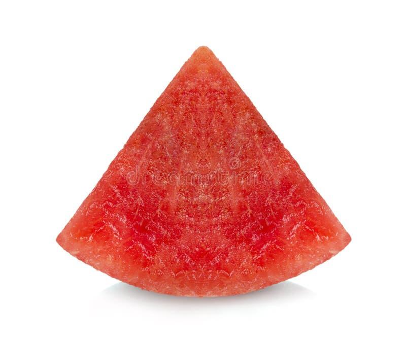果子,在白色背景保险开关隔绝的切的成熟西瓜 免版税库存图片