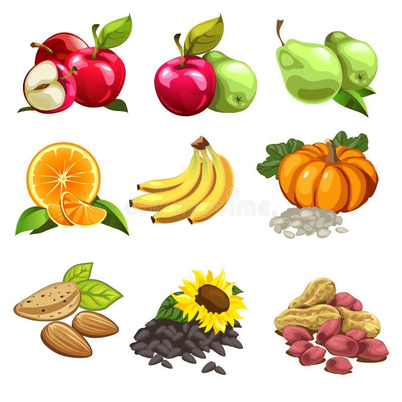 download 果子,菜,坚果,向日葵种子 苹果,梨,桔子,香蕉,南瓜 烹饪项目图片
